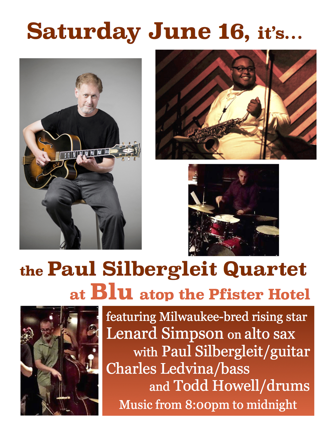 Paul Silbergleit Quartet at Blu, Pfister Hotel, Milwaukee, WI - Paul
